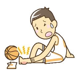 バスケットボールでの捻挫イラスト